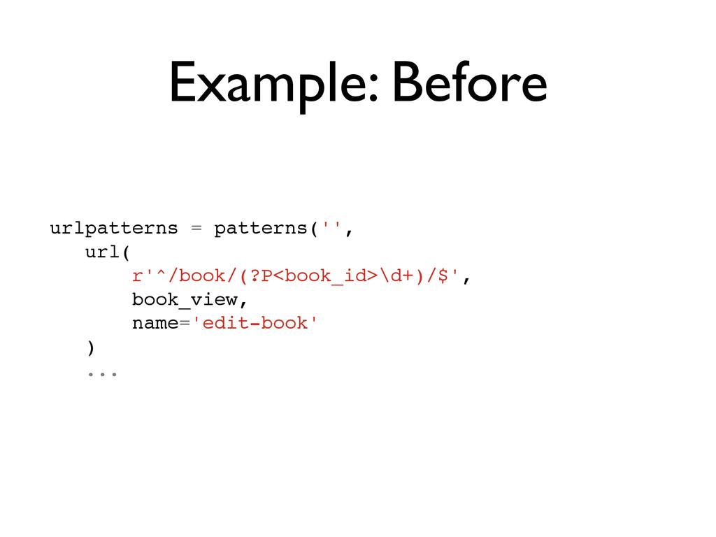 Example: Before urlpatterns = patterns('',! url...