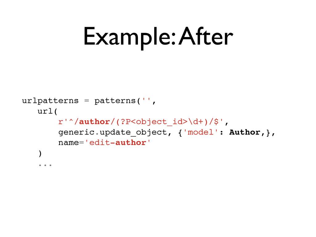 Example: After urlpatterns = patterns('',! url(...