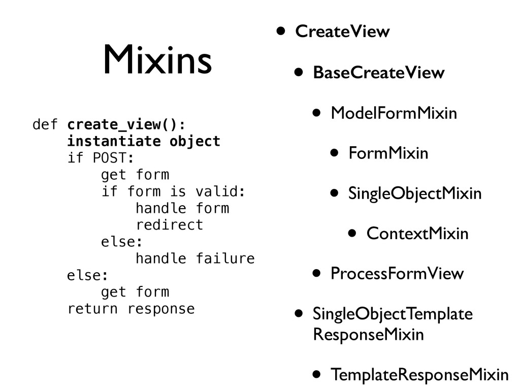Mixins • CreateView • BaseCreateView • ModelFor...