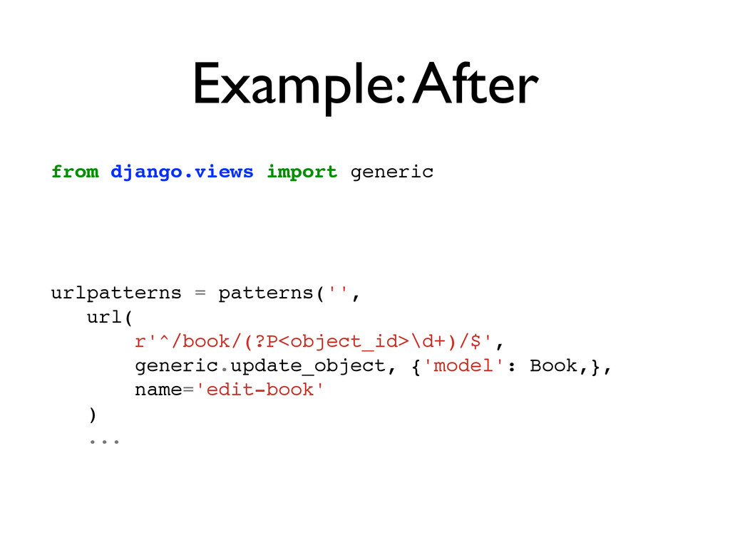 Example: After from django.views import generic...