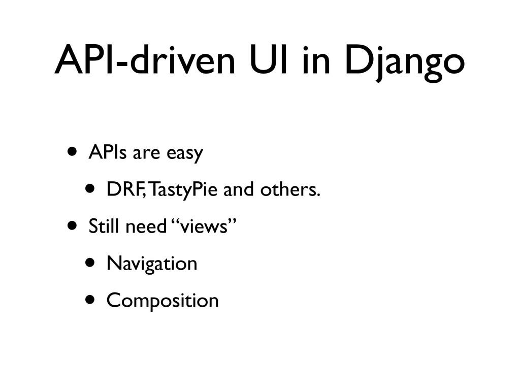 API-driven UI in Django • APIs are easy  • DR...
