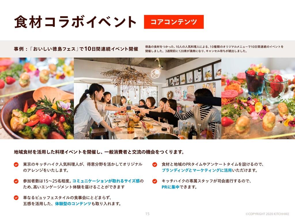 食材コラボイベント コアコンテンツ 地域食材を活用した料理イベントを開催し、一般消費者と交流の...