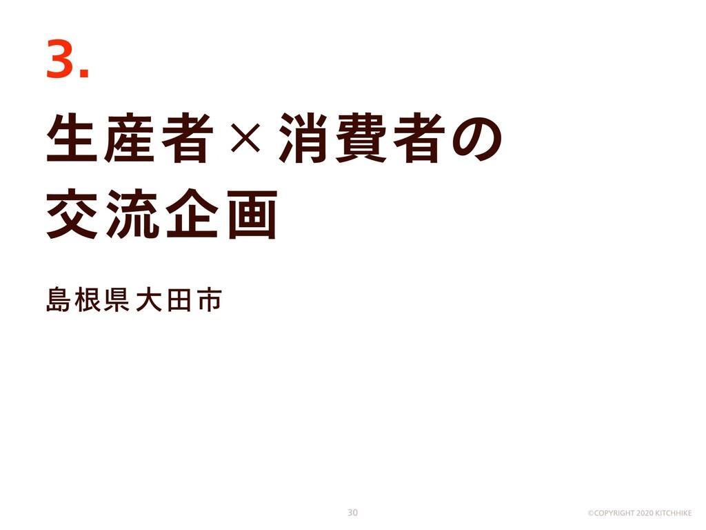 生産者×消費者の  交流企画 島根県大田市 3. ©COPYRIGHT 2020 KITCHH...