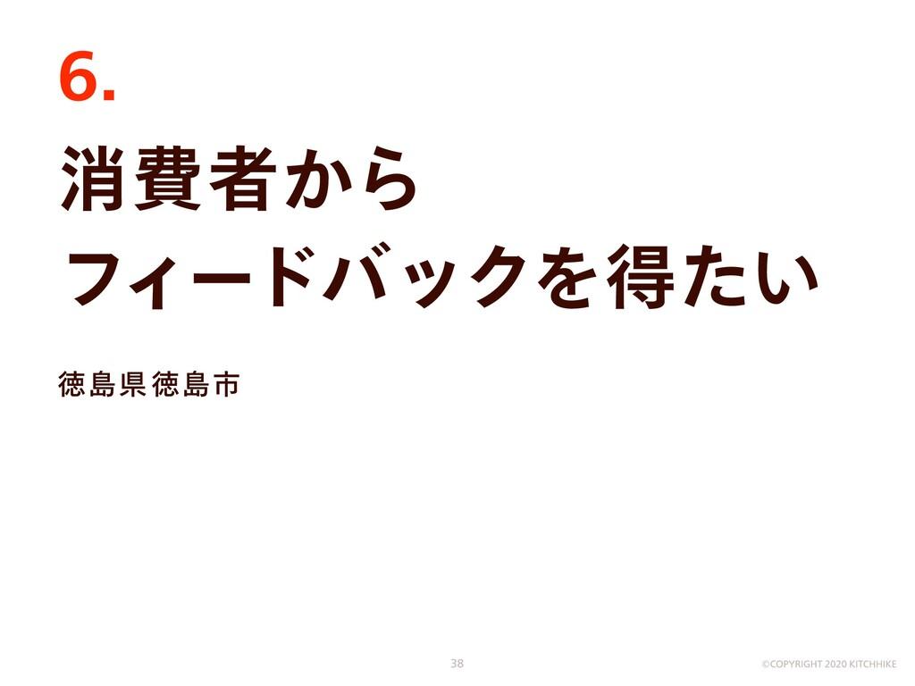消費者から  フィードバックを得たい 徳島県徳島市 6. ©COPYRIGHT 2020 KI...