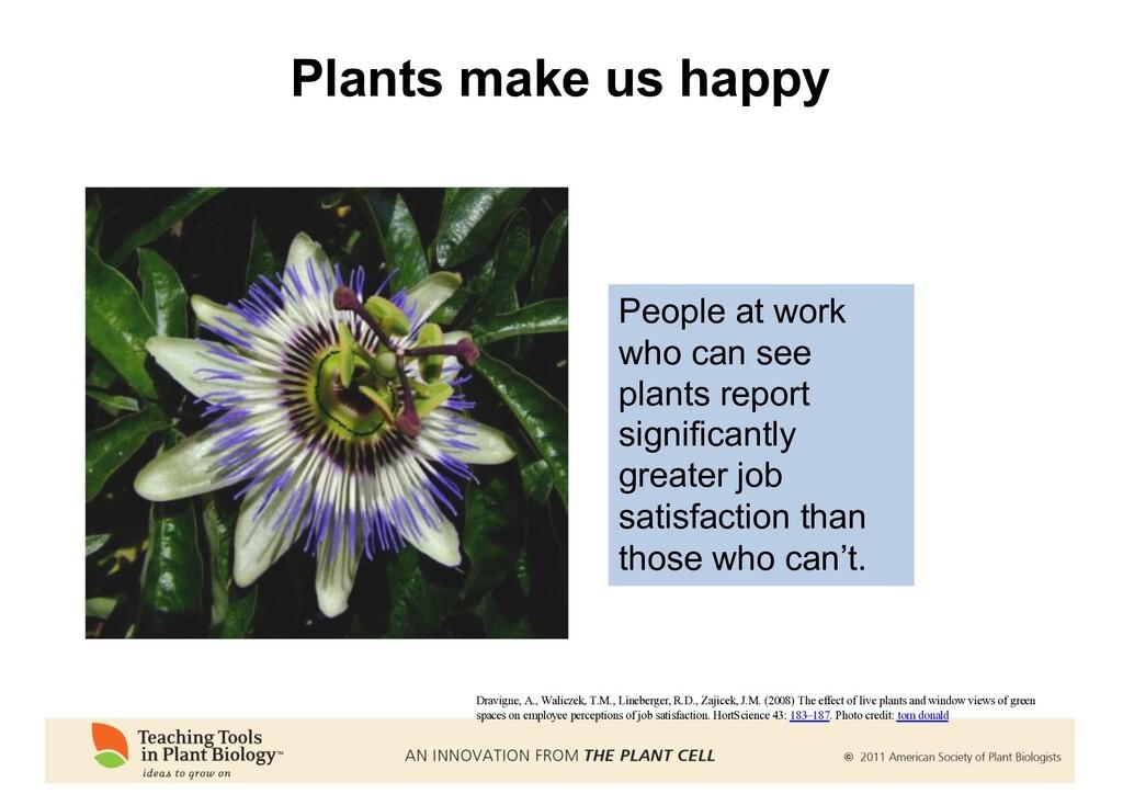 Plants make us happy Dravigne, A., Waliczek, T....