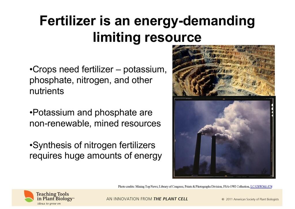 Fertilizer is an energy-demanding limiting reso...