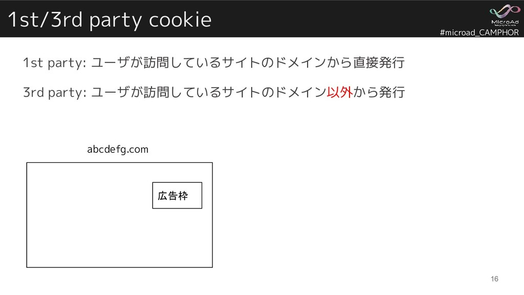 #microad_CAMPHOR 1st/3rd party cookie 1st party...