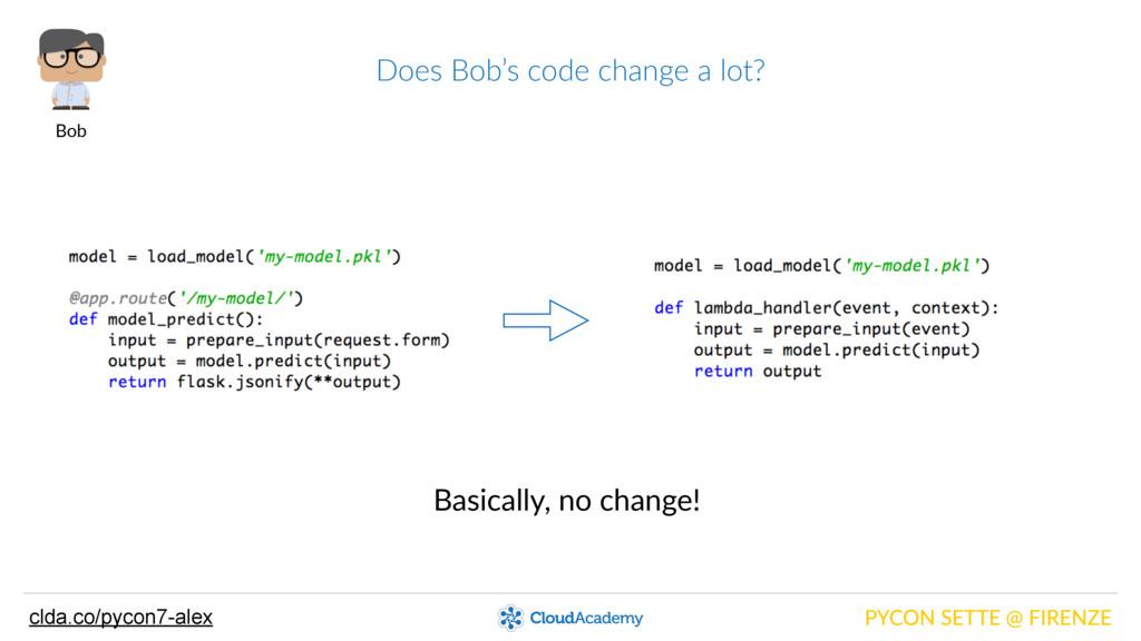 Does Bob's code change a lot? PYCON SETTE...