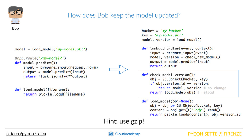 How does Bob keep the model updated? PYCO...