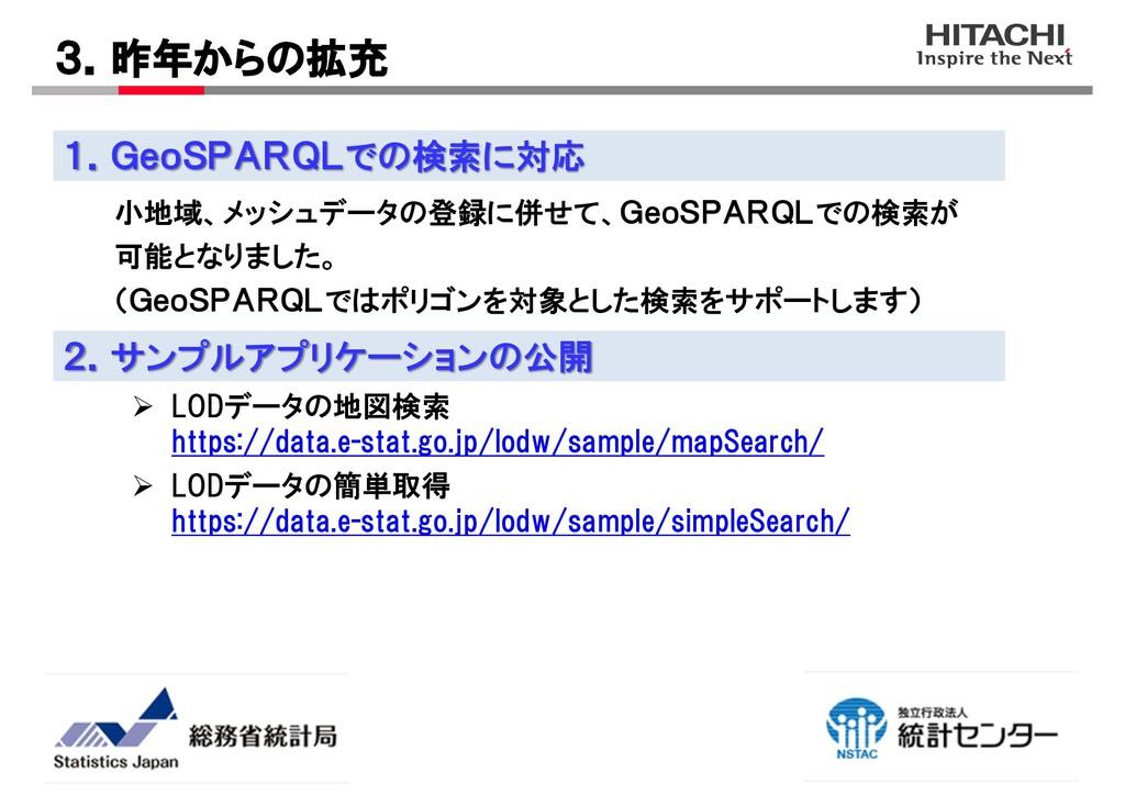 小地域、メッシュデータの登録に併せて、GeoSPARQLでの検索が 可能となりました。 (Ge...