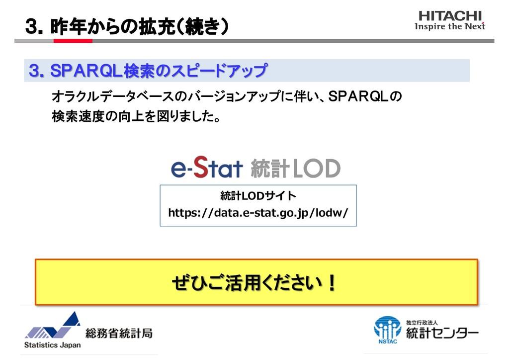 ぜひご活用ください! 3.SPARQL検索のスピードアップ 3.昨年からの拡充(続き) 統計L...