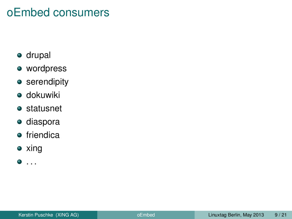 oEmbed consumers drupal wordpress serendipity d...
