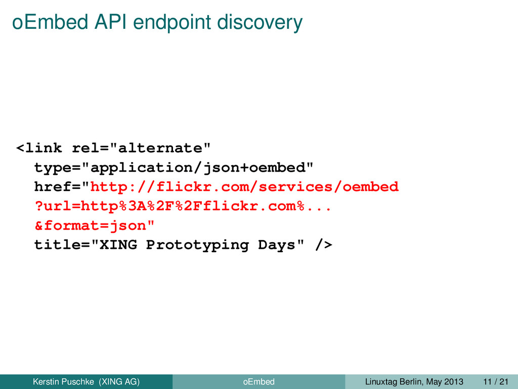 """oEmbed API endpoint discovery <link rel=""""altern..."""