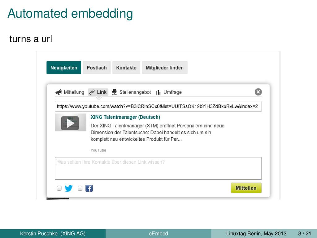 Automated embedding turns a url Kerstin Puschke...