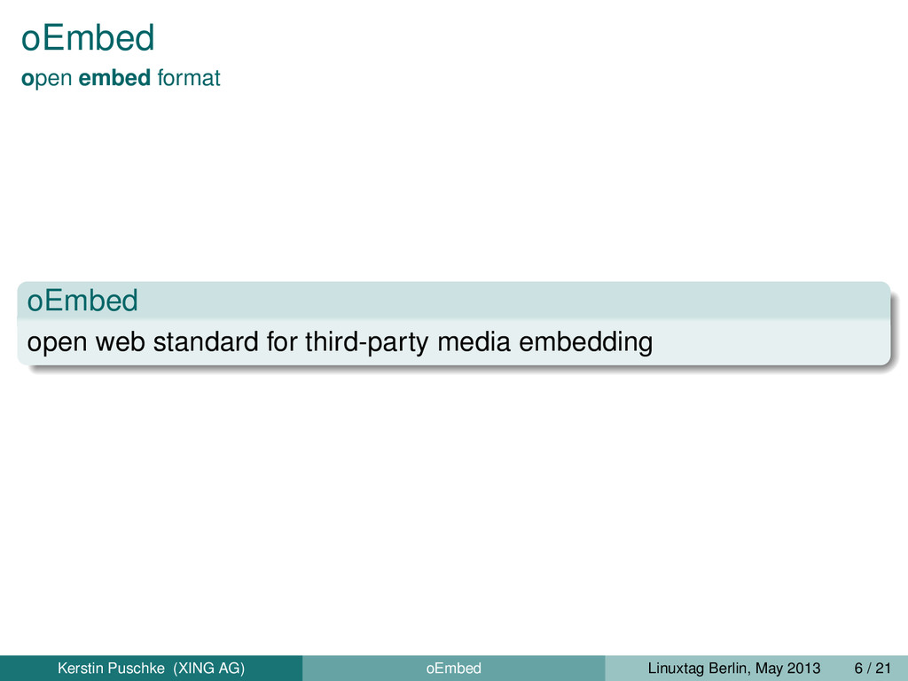 oEmbed open embed format oEmbed open web standa...