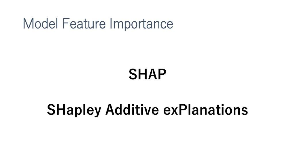 Model Feature Importance SHAP SHapley Additive ...