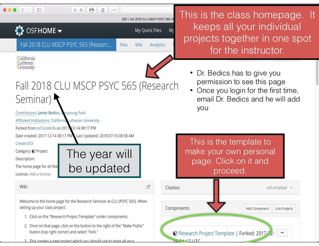 This is the class homepage. It keeps all your i...