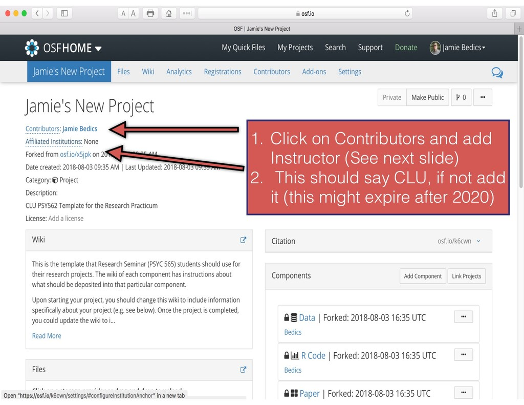 1. Click on Contributors and add Instructor (Se...