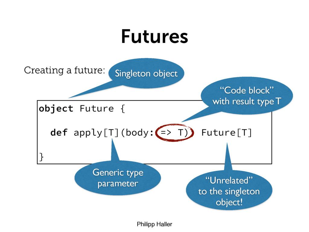 Philipp Haller Futures Creating a future: objec...
