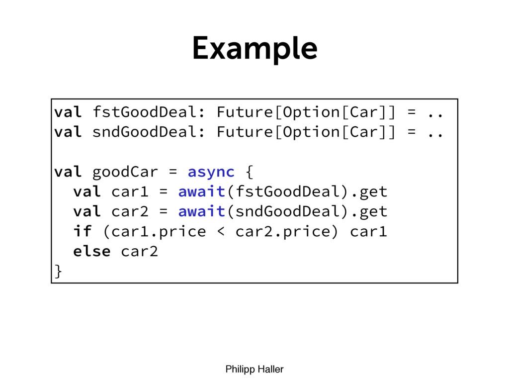 Philipp Haller Example val fstGoodDeal: Future[...