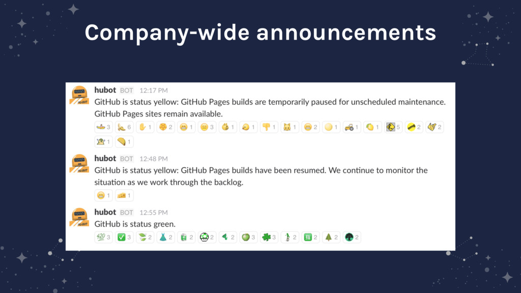 Company-wide announcements