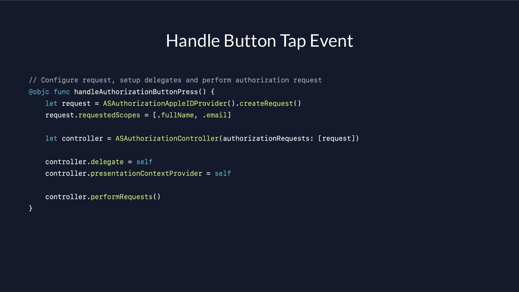Handle Button Tap Event