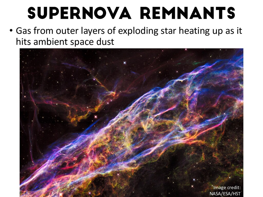Supernova remnants • Gas from outer layers of e...