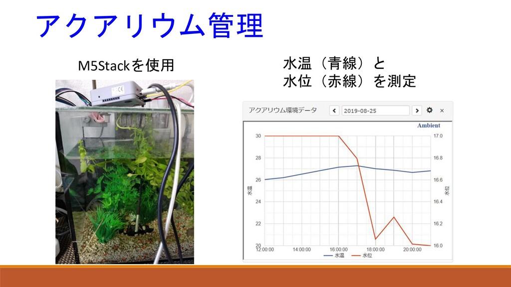 アクアリウム管理 水温(青線)と 水位(赤線)を測定 M5Stackを使用