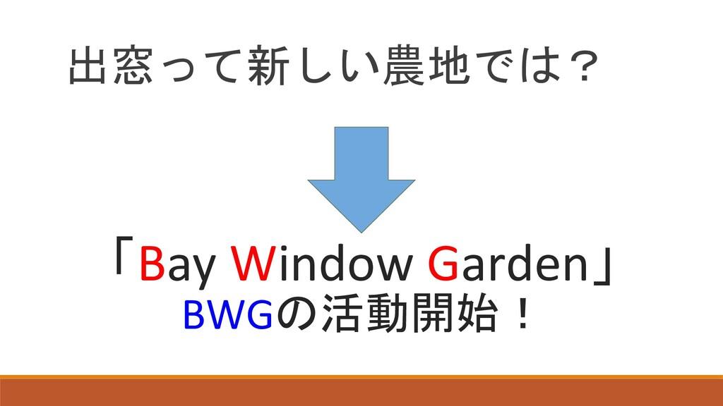 出窓って新しい農地では? 「Bay Window Garden」 BWGの活動開始!