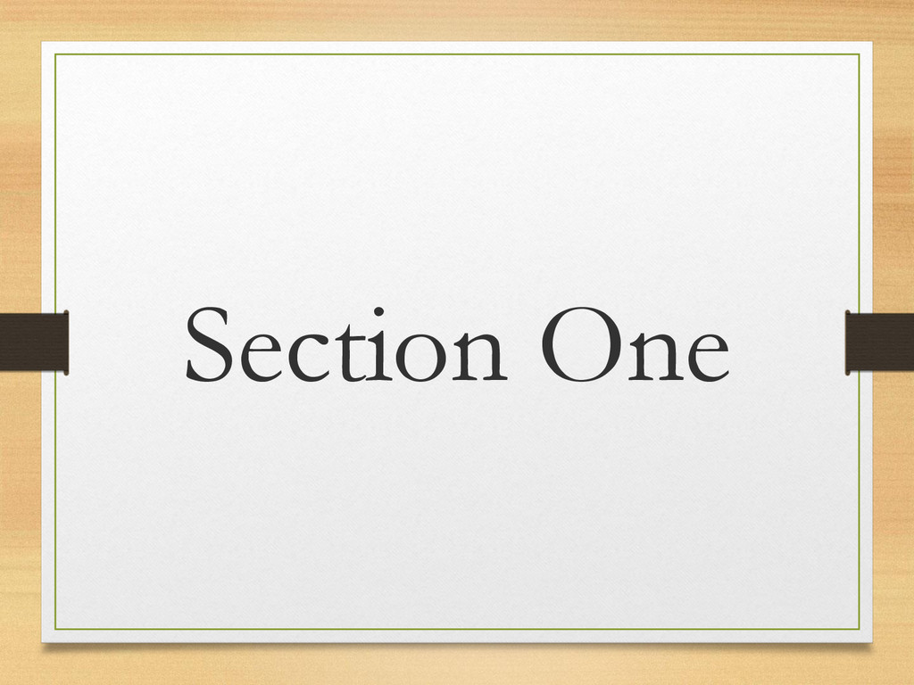 Section One