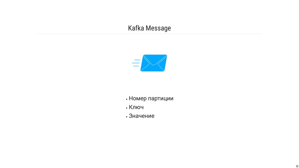 Kafka Message Номер партиции Ключ Значение 13