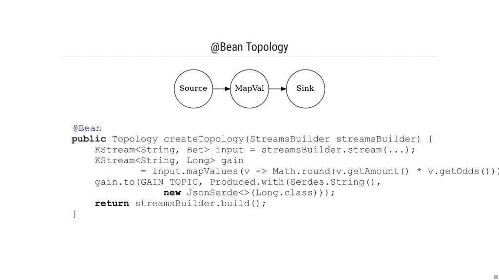 @Bean Topology @Bean public Topology createTopo...