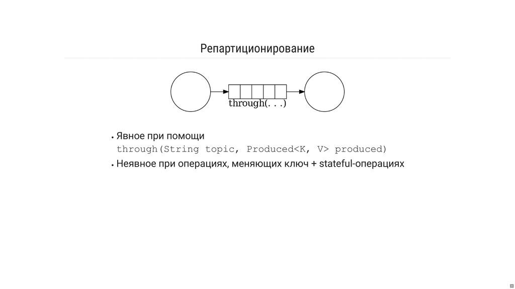 Репартиционирование Явное при помощи through(St...