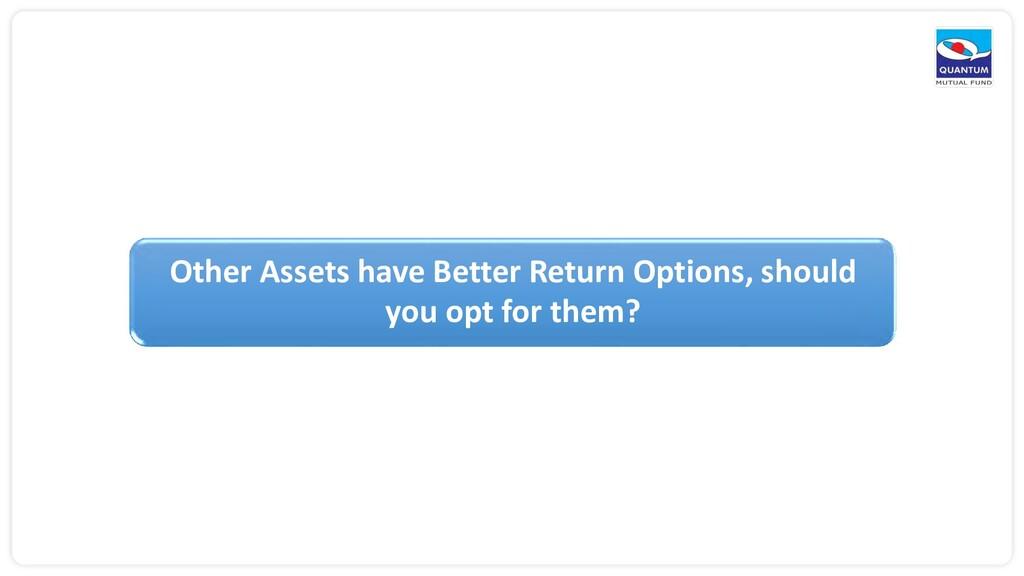 Other Assets have Better Return Options, should...