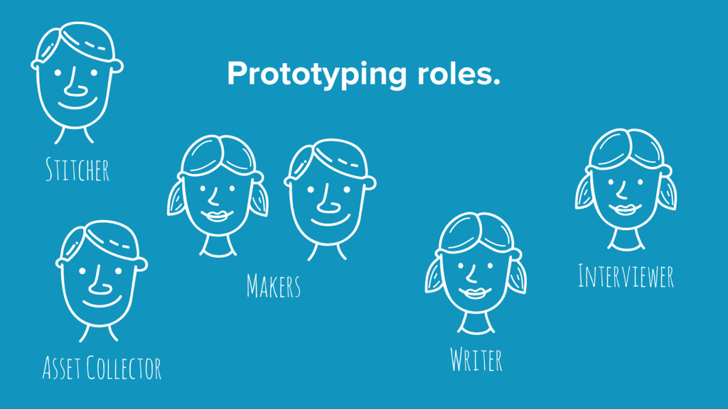 Prototyping roles. Makers Stitcher Writer Asset...