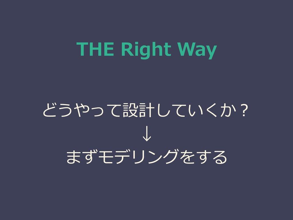 THE Right Way どうやって設計していくか? ↓ まずモデリングをする