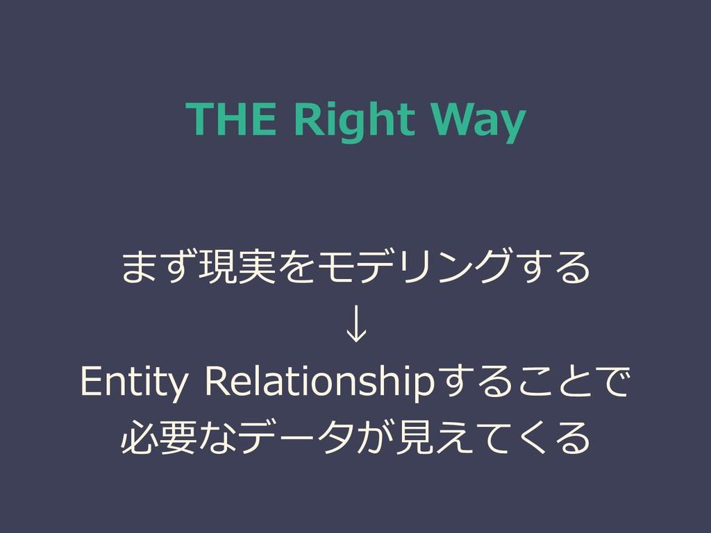 THE Right Way まず現実をモデリングする ↓ Entity Relationshi...