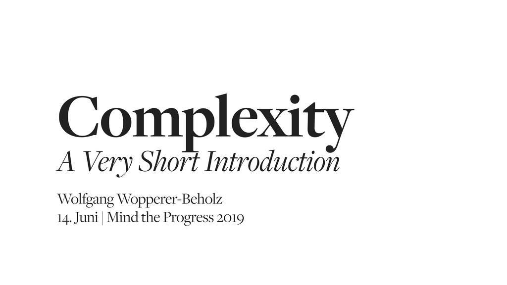 Complexity A Very Short Introduction Wolfgang W...