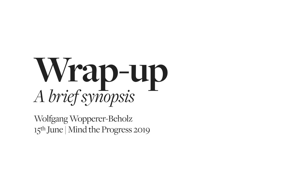 Wrap-up A brief synopsis Wolfgang Wopperer-Beho...