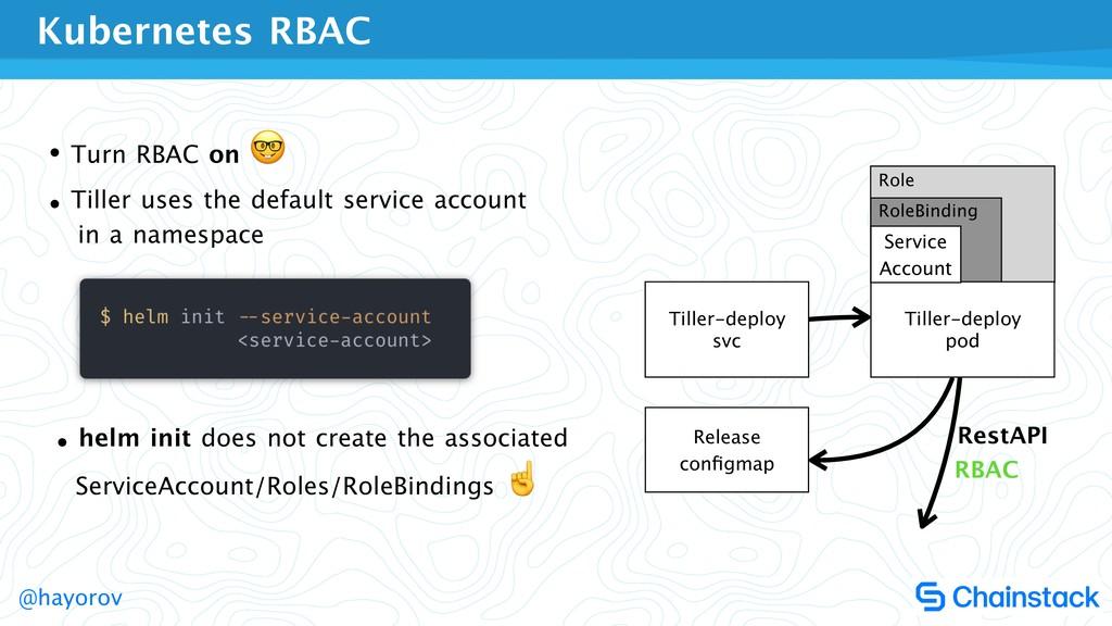 @hayorov Role RoleBinding • Turn RBAC on   • Ti...