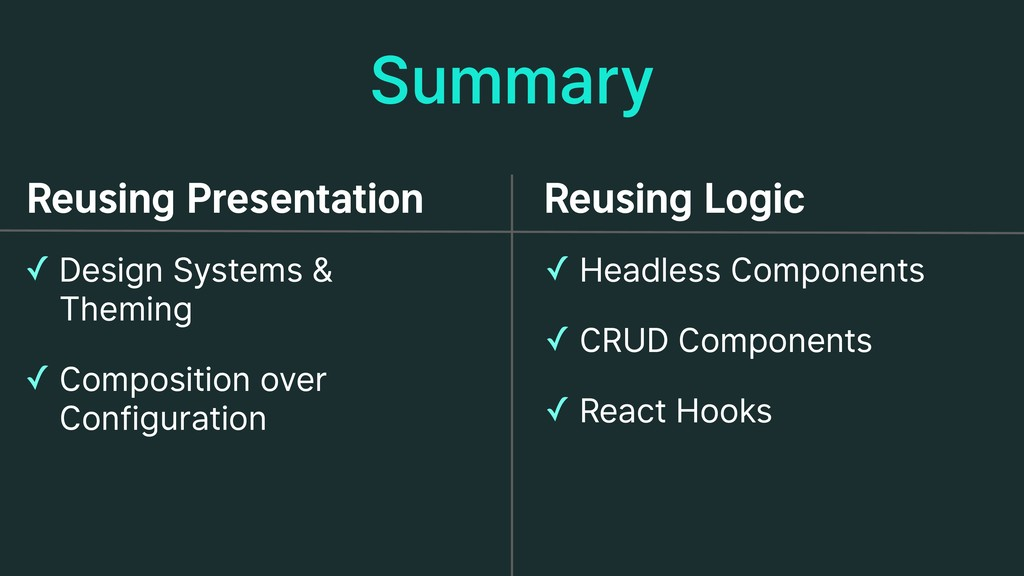 Summary ✓ Design Systems &  Theming ✓ Composit...