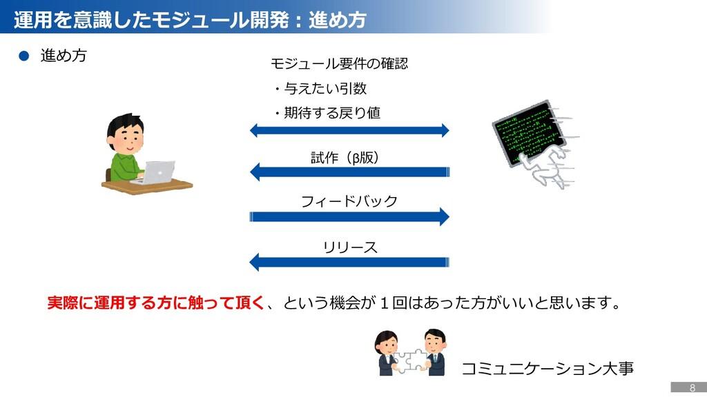 運用を意識したモジュール開発:進め方 モジュール要件の確認 ・与えたい引数 ・期待する戻り値 ...