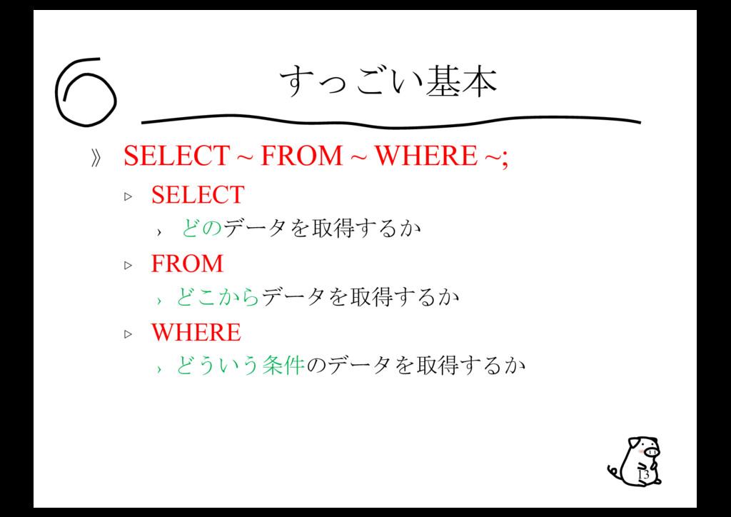 すっごい基本 》 SELECT ~ FROM ~ WHERE ~; ▷ SELECT › どの...