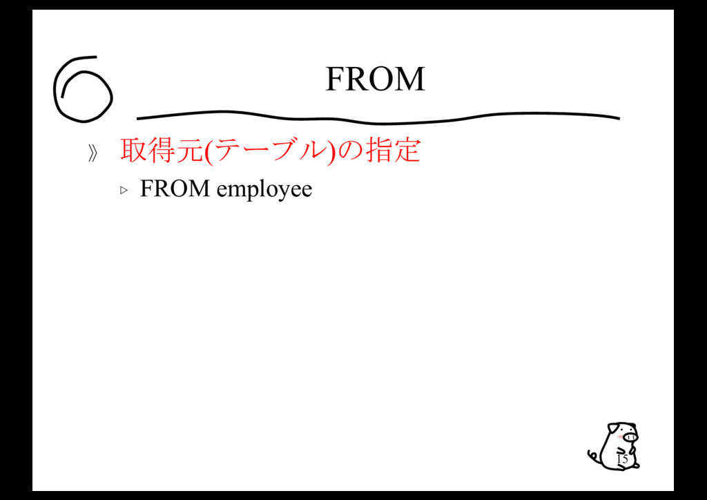 FROM 》 取得元(テーブル)の指定 ▷ FROM employee 15