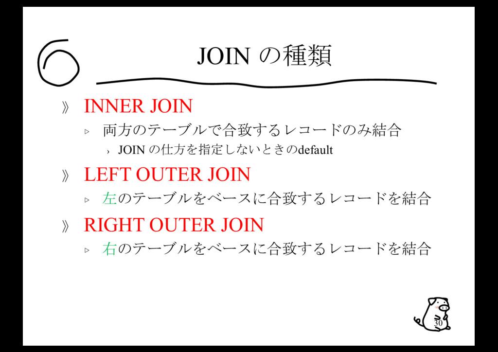 JOIN の種類 》 INNER JOIN ▷ 両方のテーブルで合致するレコードのみ結合 › ...
