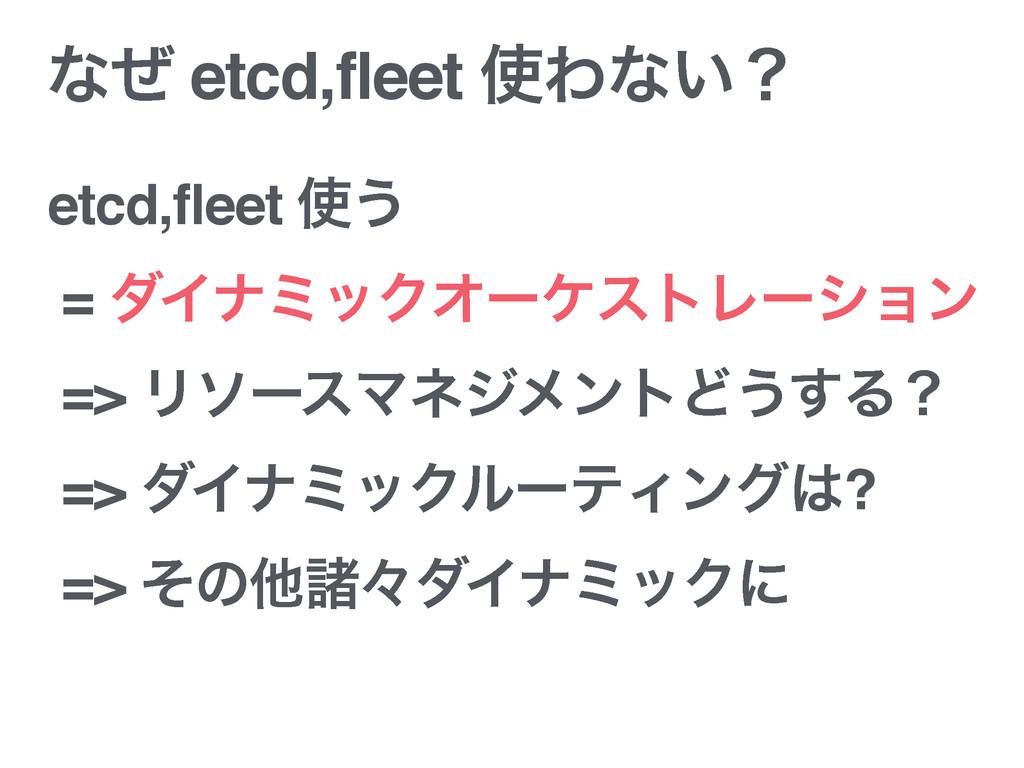 ͳͥ etcd,fleet Θͳ͍ʁ etcd,fleet ͏ = μΠφϛοΫΦʔέετ...