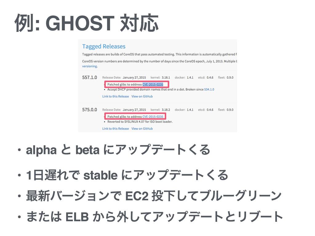 ྫ: GHOST ରԠ • alpha ͱ beta ʹΞοϓσʔτ͘Δ • 1ΕͰ st...