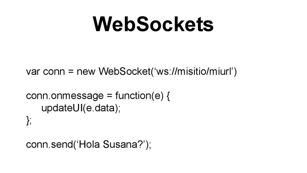 WebSockets var conn = new WebSocket('ws://misit...