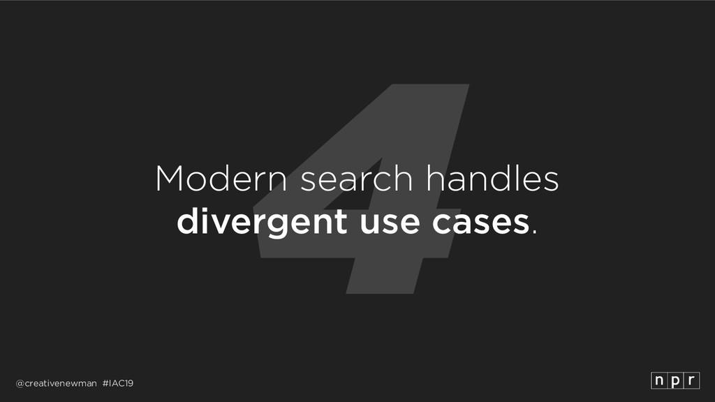 @creativenewman #IAC19 4 Modern search handles...