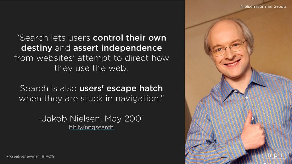 "@creativenewman #IAC19 ""Search lets users contr..."